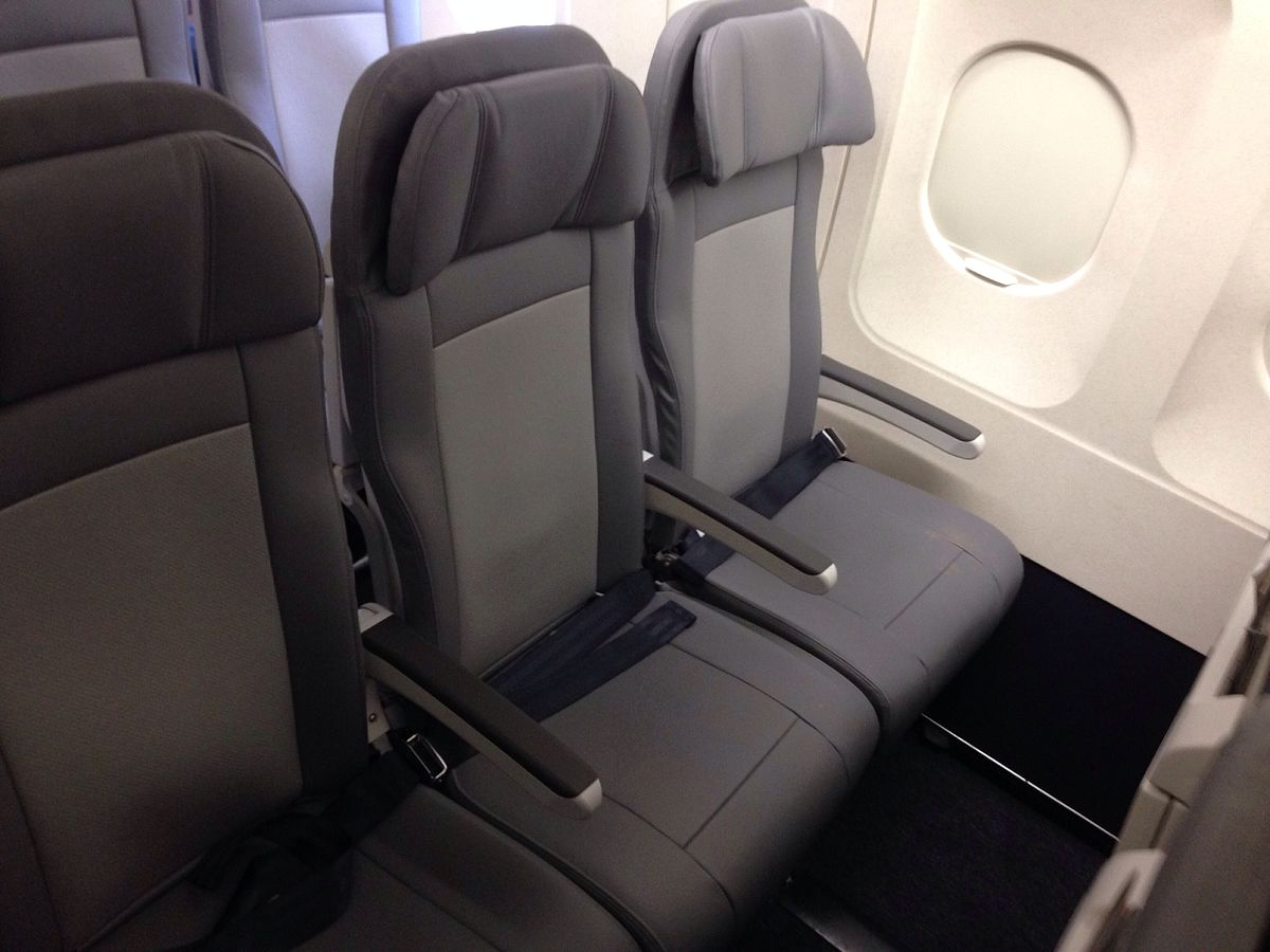 Economy seats on an Airbus A320-200. | Source: Wikimedia Commons Images