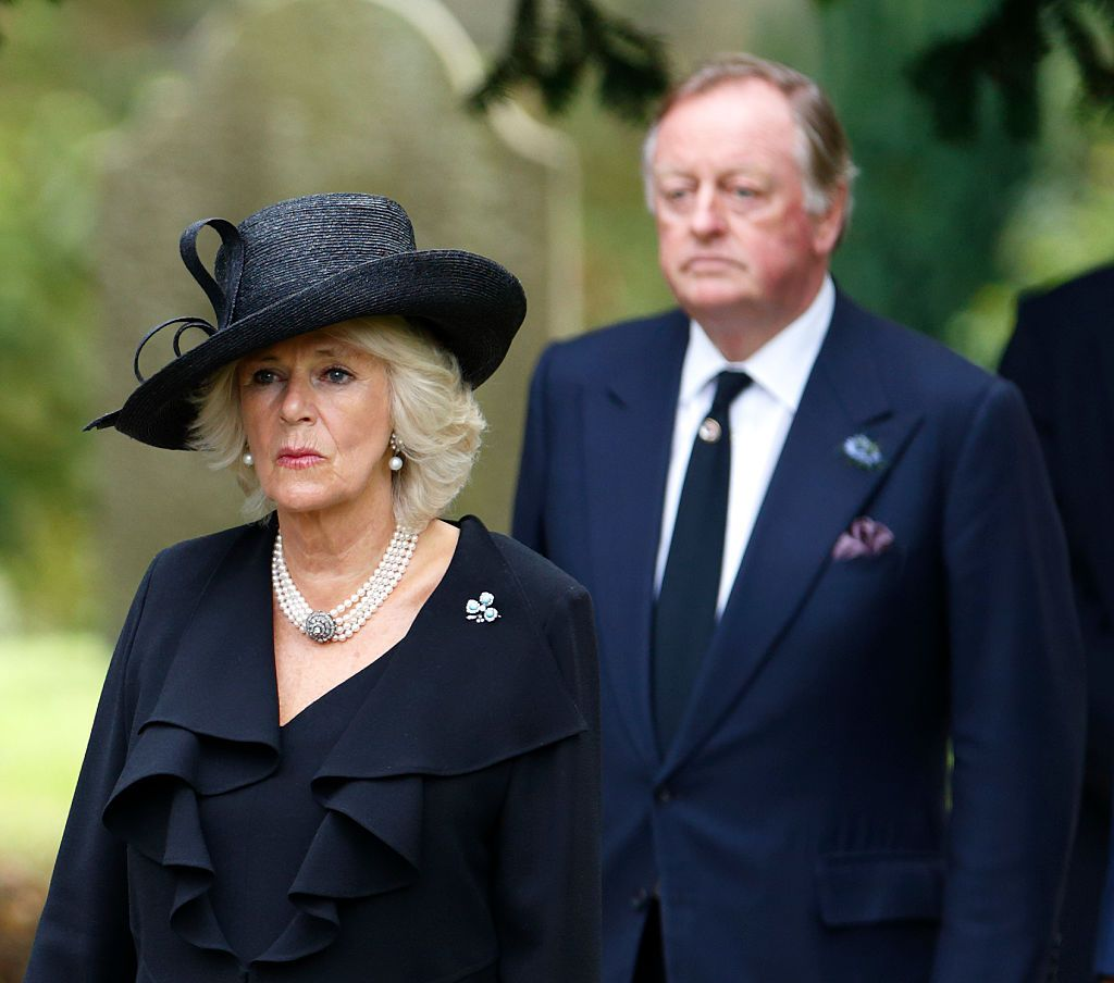 Camilla, Duchess of Cornwall and Andrew Parker Bowles attend the funeral of Deborah, Dowager Duchess of Devonshire. | Source: Getty Images