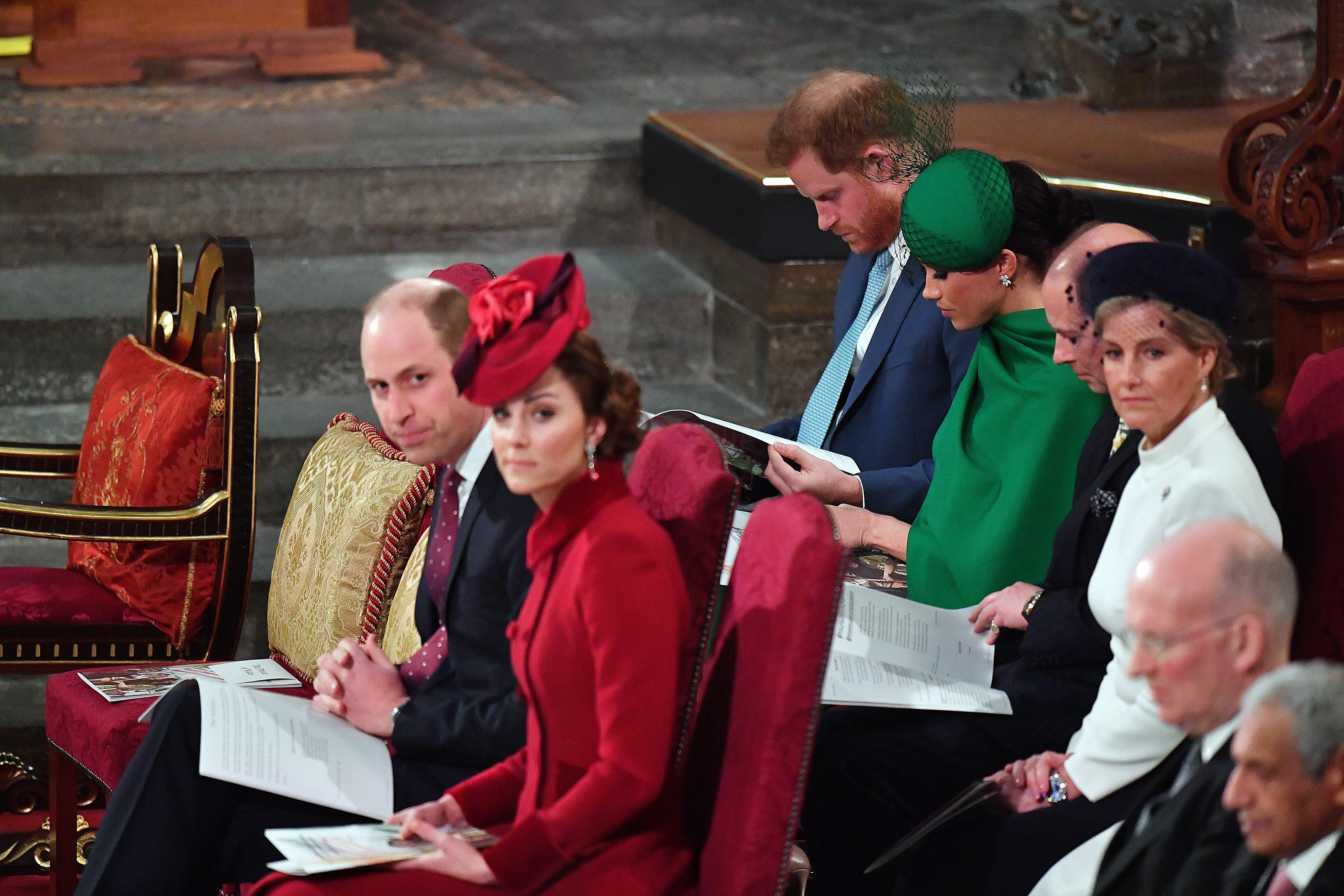 Prince William, Kate Middleton, Prince Harry, Meghan Markle, Prince Edward, Earl of Wessex and Sophie, Countess of Wessex attend the Commonwealth Day Service 2020 on March 9, 2020 in London, England | Photo: Getty Images