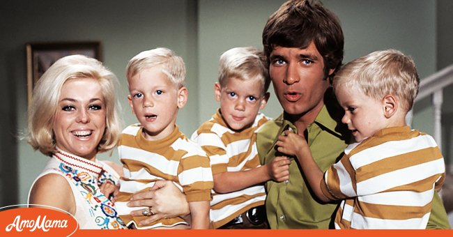 """Tina Cole and Don Grady with the Todd triplets on """"My Three Sons"""" 