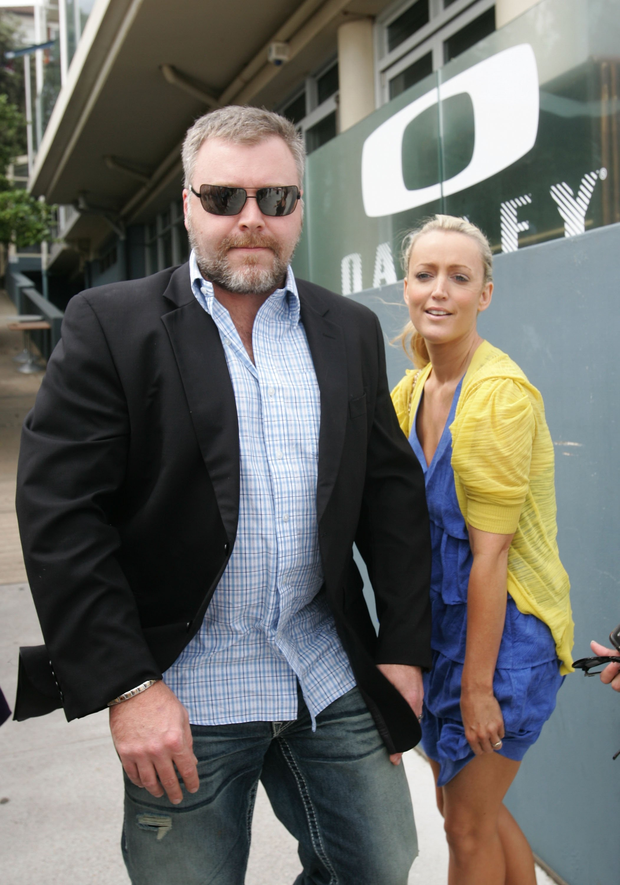 """Kyle Sandilands and Jackie O Henderson atthe Oakley's """"Learn To Ride"""" charity learn-to-surf eventon February 16, 2010, in Sydney, Australia 
