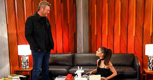 Ariana Grande and Blake Shelton pictured during Blind Auditions Episode 2101, June 2021   Source: Getty Images