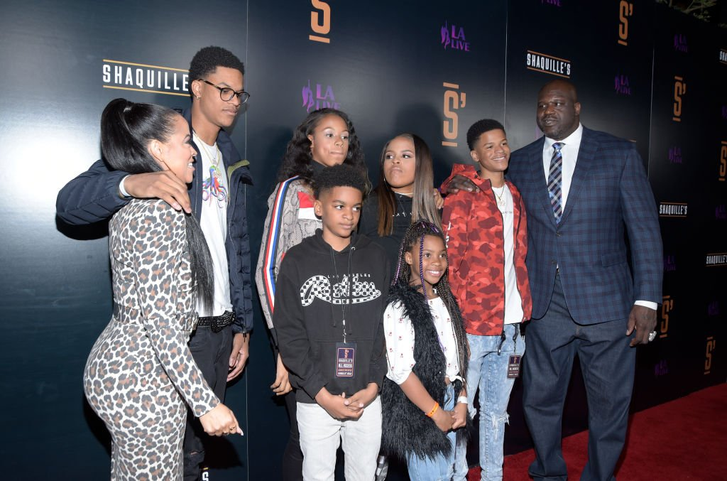 Shaquille O'Neal and his family at the grand opening of his restaurant, Shaquille's, on March 2019   Source: Getty Images