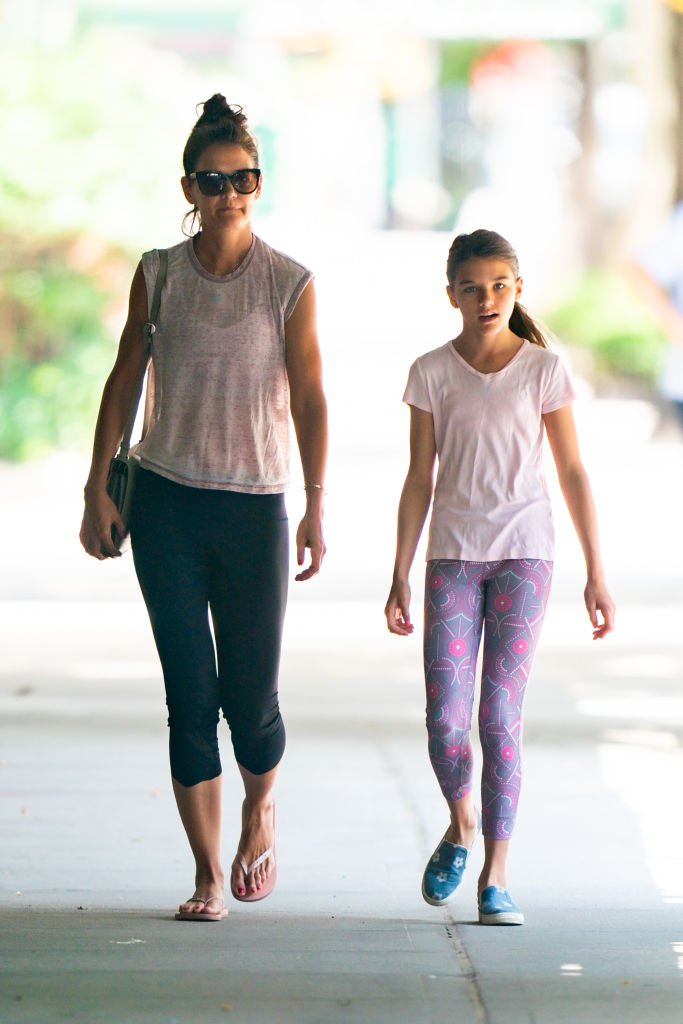 Katie Holmes and her daughter, Suri Cruise are pictured walking in the Upper West Side on July 22, 2019, New York City | Source: Getty Images (Photo by Gotham/GC Images)