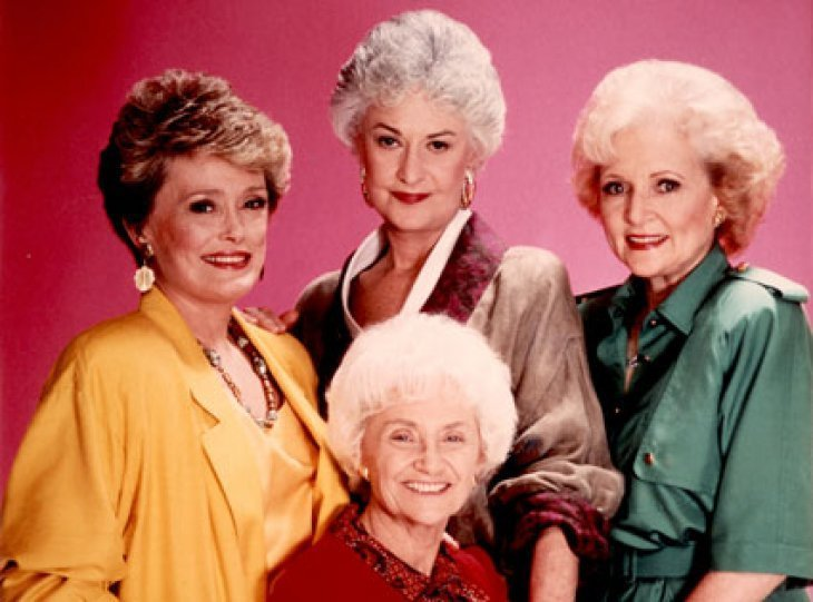 """Golden ""Girls"" stars Rue McClanahan, Bea Arthur, Betty White, and Estelle Getty pose together 