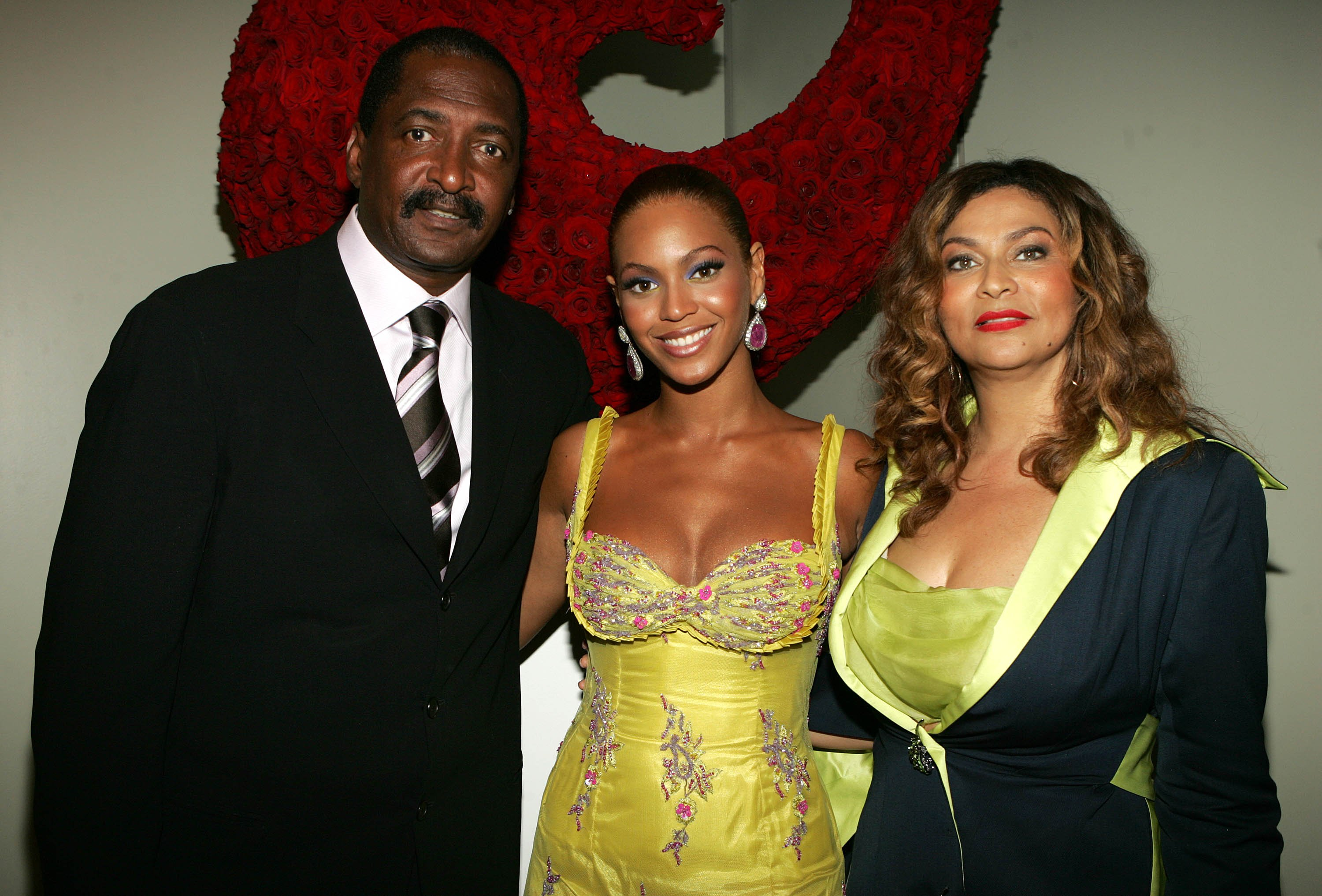 "Beyonce, Matthew and Tina Knowles at the ""Beyonce: Beyond the Red Carpet' auction, June 23, 2005 