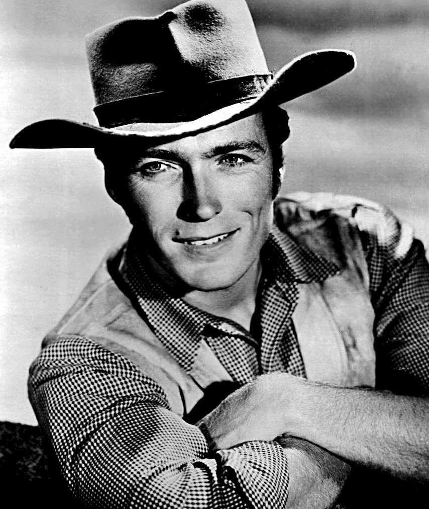 """A publicity photo of Clint Eastwood for """"Rawhide"""" taken in 1961.   Source: Wikimedia Commons."""