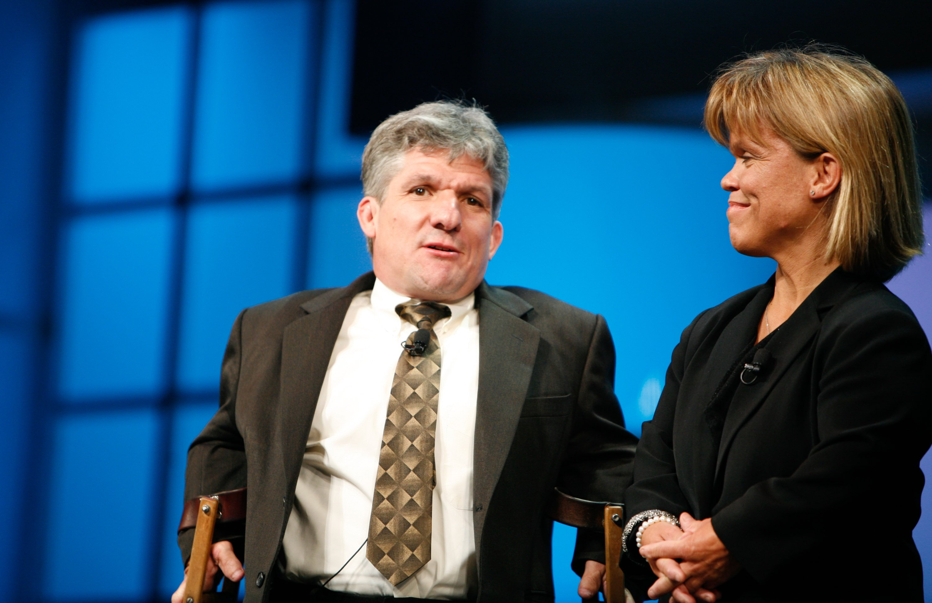"""""""Little People Big World"""" Matthew Roloff (L) and Amy Roloff (R) speak at the Discovery Upfront event at Jazz at Lincoln Center on April 23, 2008