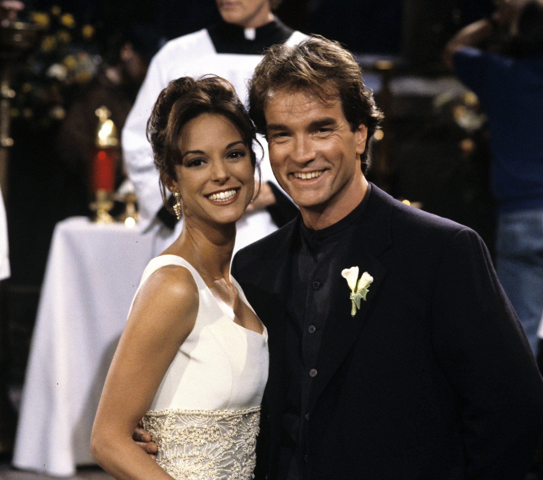 """Eva LaRue and John Callahan during their 1995 wedding scene of the TV show """"All My Children."""" 