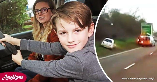 Chico de 8 años sujeta el volante mientras madre convulsiona yendo a más de 104 km/h
