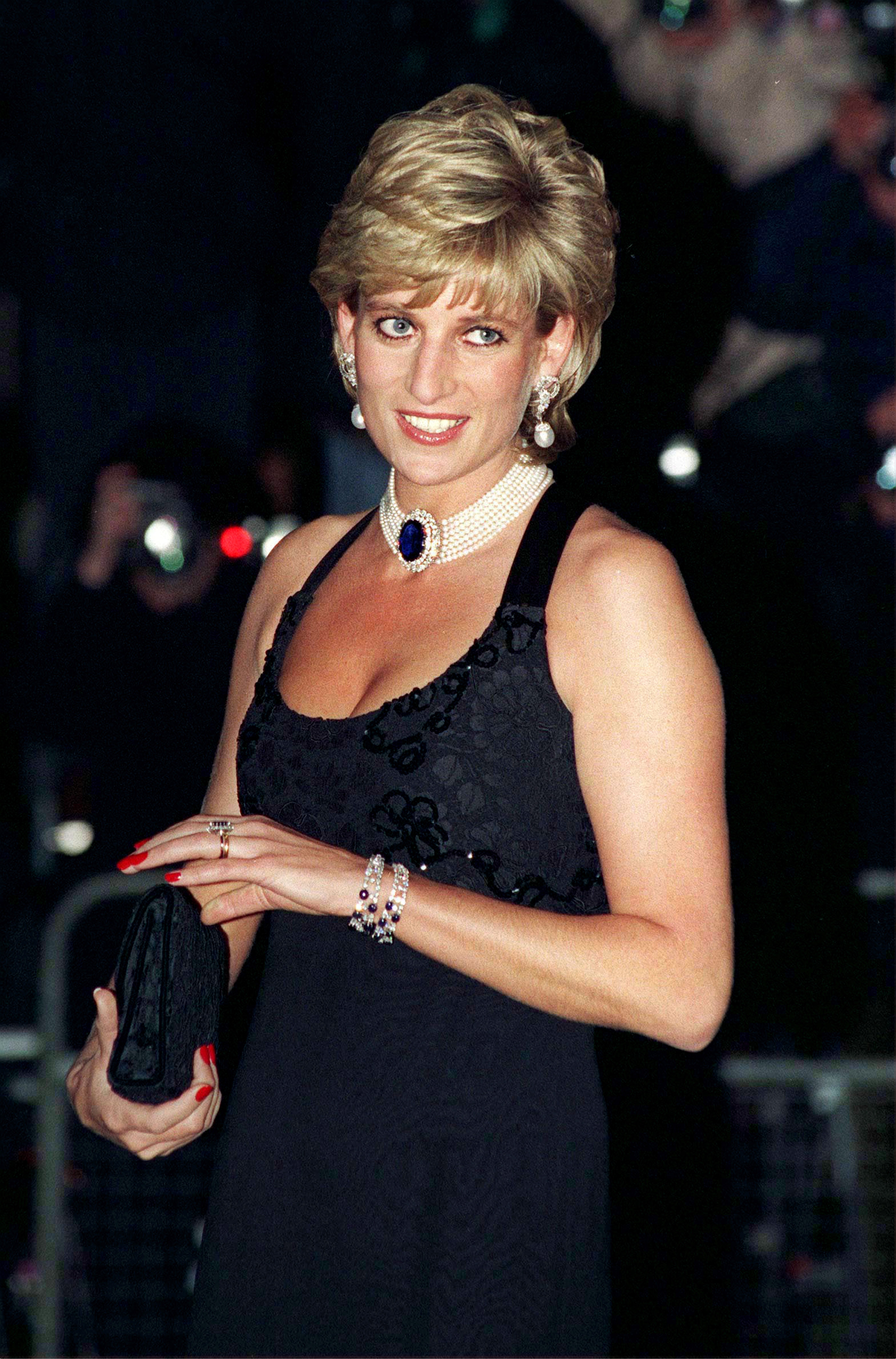 An undated image of Princess Diana attending a gala evening in aid of Cancer Research at Bridgewater House in London   Photo: Getty Images
