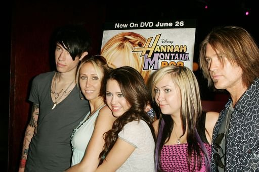 "Trace, Leticia, Miley, Brandi, and Billy Ray Cyrus celebrate the release of Miley's new DVD ""Hannah Montana 2"" at Hollywood & Highland 