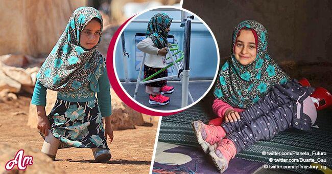 Une petite fille qui se servait de boîtes de thon comme de jambes peut finalement marcher grâce à des prothèses