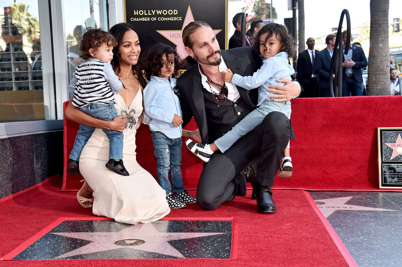 Honoree Zoe Saldana, Marco Perego, and children at the Zoe Saldana Walk Of Fame Star Ceremony on May 3, 2018 in Hollywood, California | Photo: Getty Images