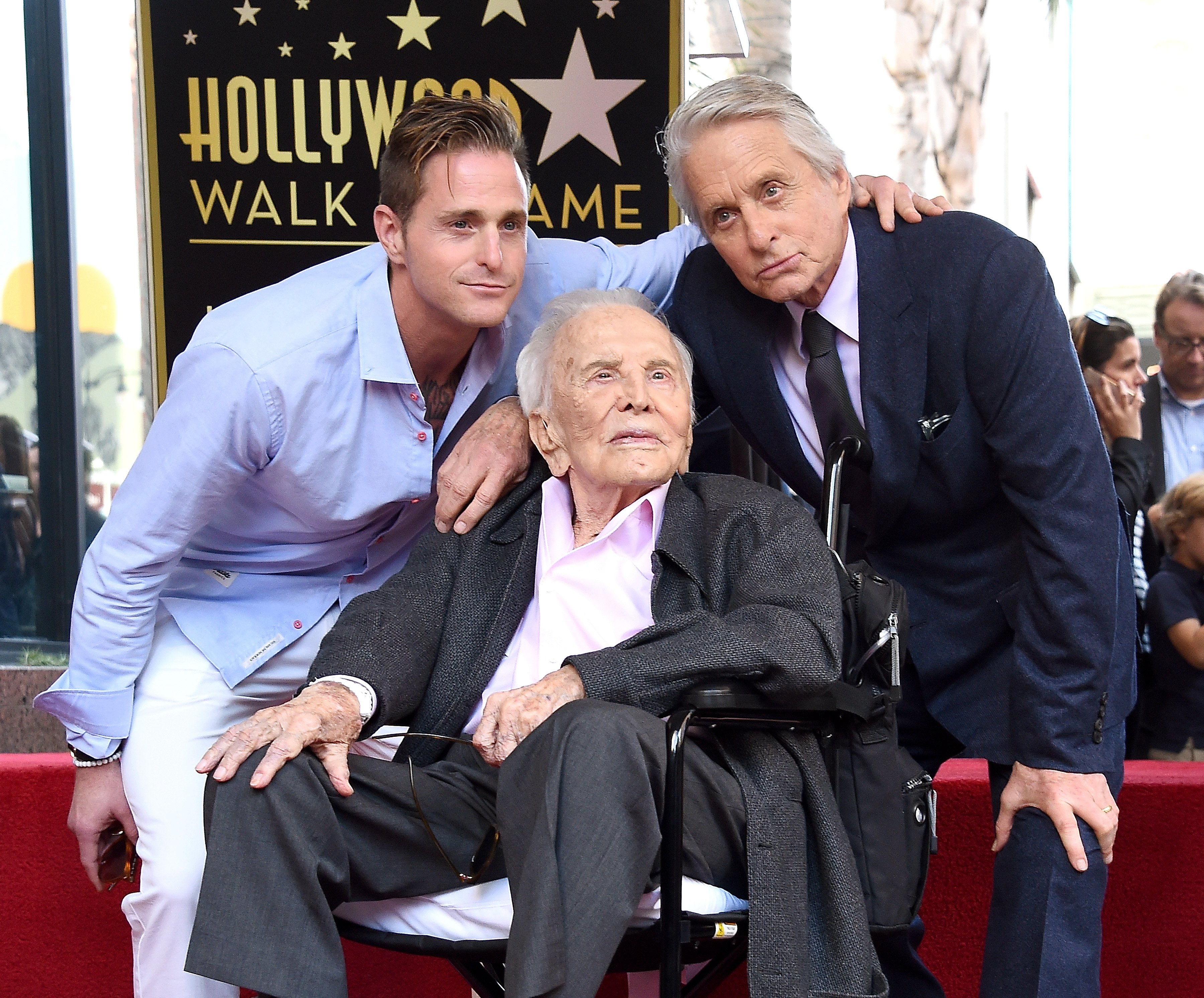 Cameron Douglas, Kirk Douglas, and Michael Douglas pose at The Hollywood Walk Of Fame ceremony on November 6, 2018, in Hollywood, California. | Source: Getty Images.