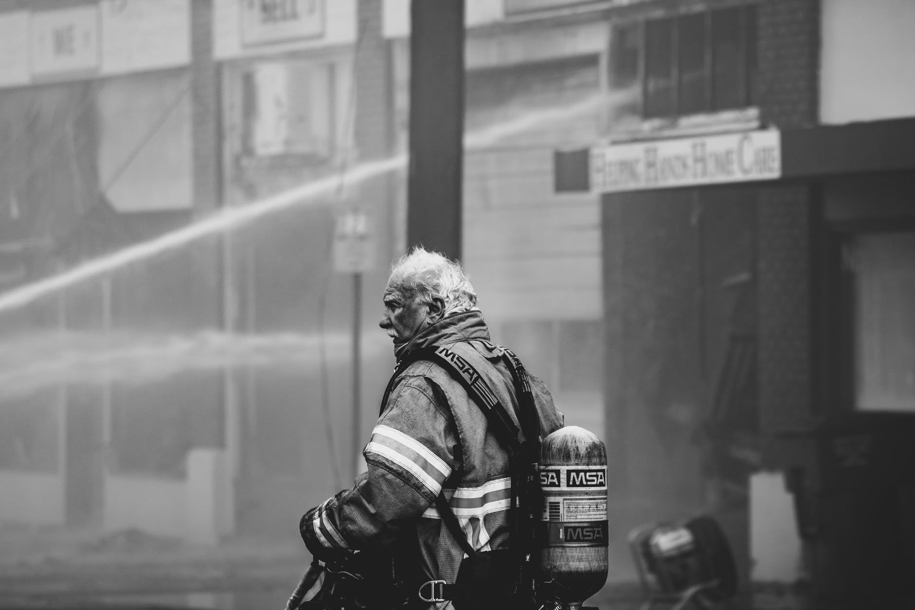 A firefighter.   Source: Pexels