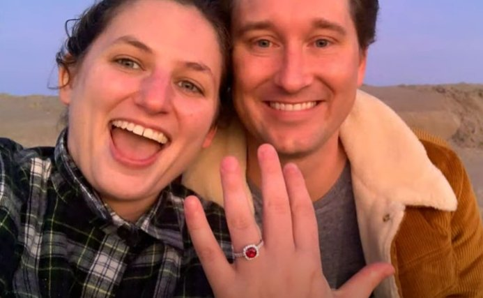 Keri Barnett-Howell shows off her engagement ring with fiancé Will Grosswendt.   Source: YouTube/King 5