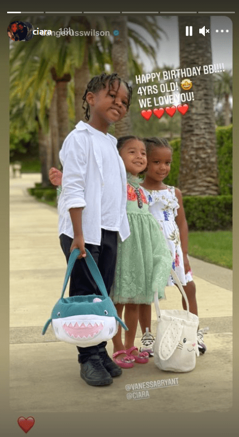 Singer Ciara's adorable picture of her children, Future Jr and Sienna hugging Bianka Bryant | Photo: Instagram/ciara
