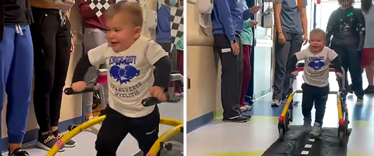 2-Year-Old Boy Walks for the First Time after Being Paralyzed — Watch as Hospital Staff Cheer Him On