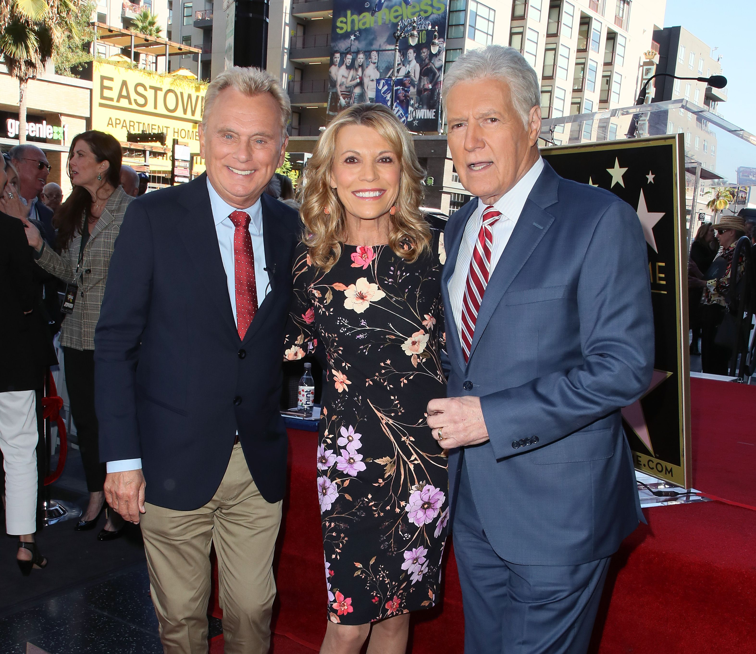 Pat Sajak, Vanna White, and Alex Trebek at the Hollywood Walk of Fame in November 2019 in Hollywood, California | Source: Getty Images