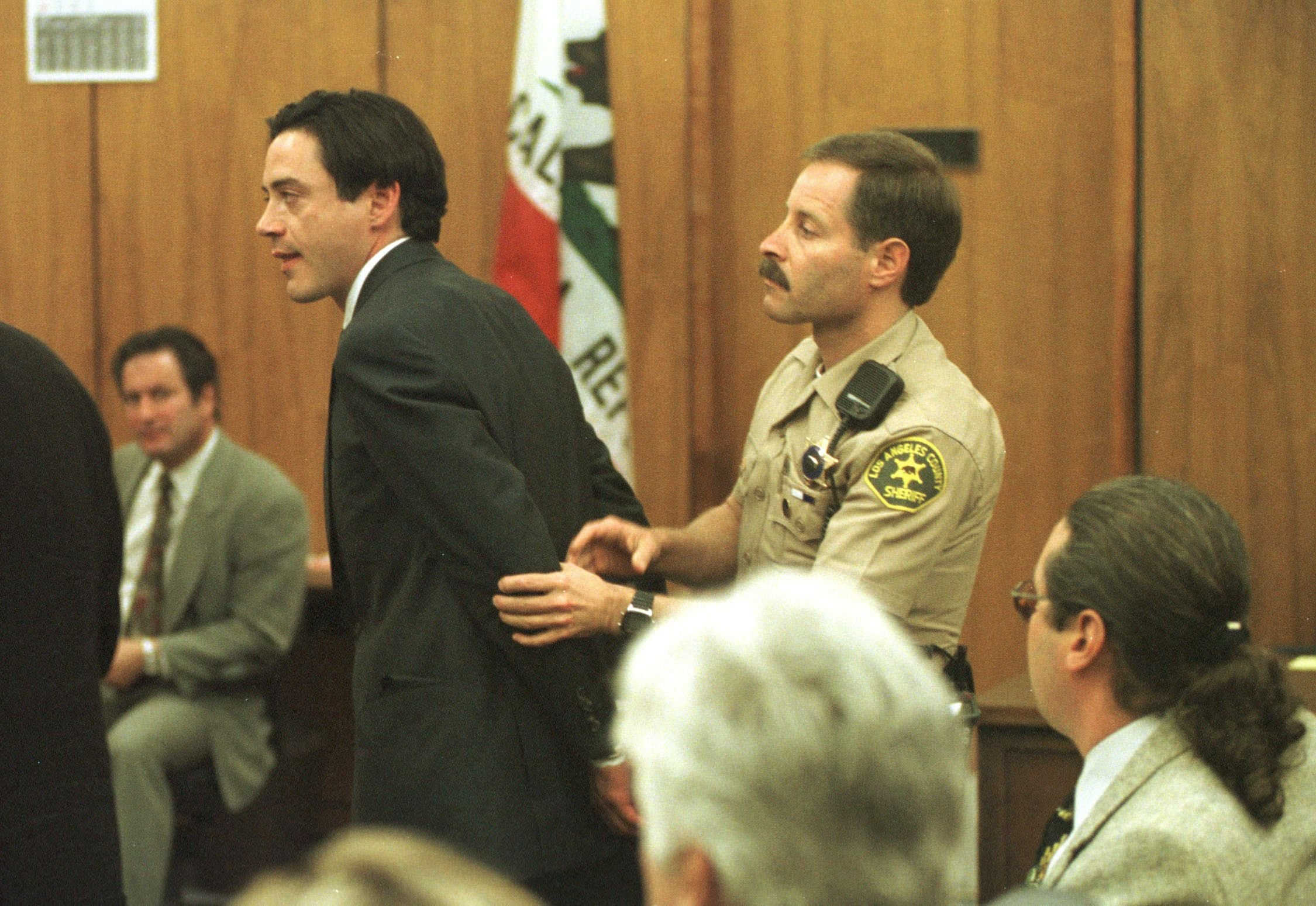 Robert Downey Jr. in custody after being charged with possession of cocaine in1997 in Malibu, CA | Source: Getty Images