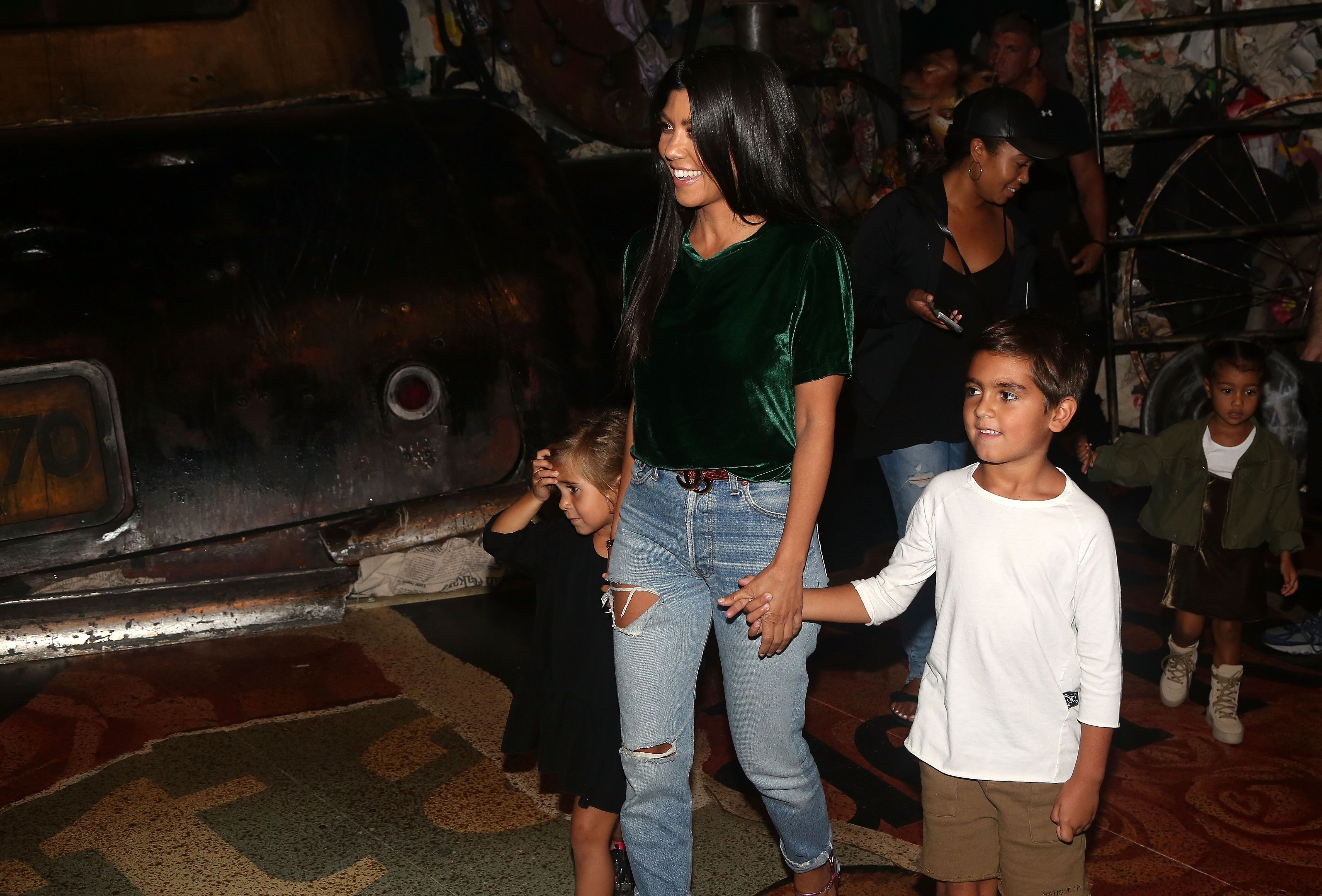 """Kourtney Kardashian with her chidren Mason and Penelope Disick, and niece North West backstage at """"Cats"""" on Broadway in 2016   Source: Getty Images"""