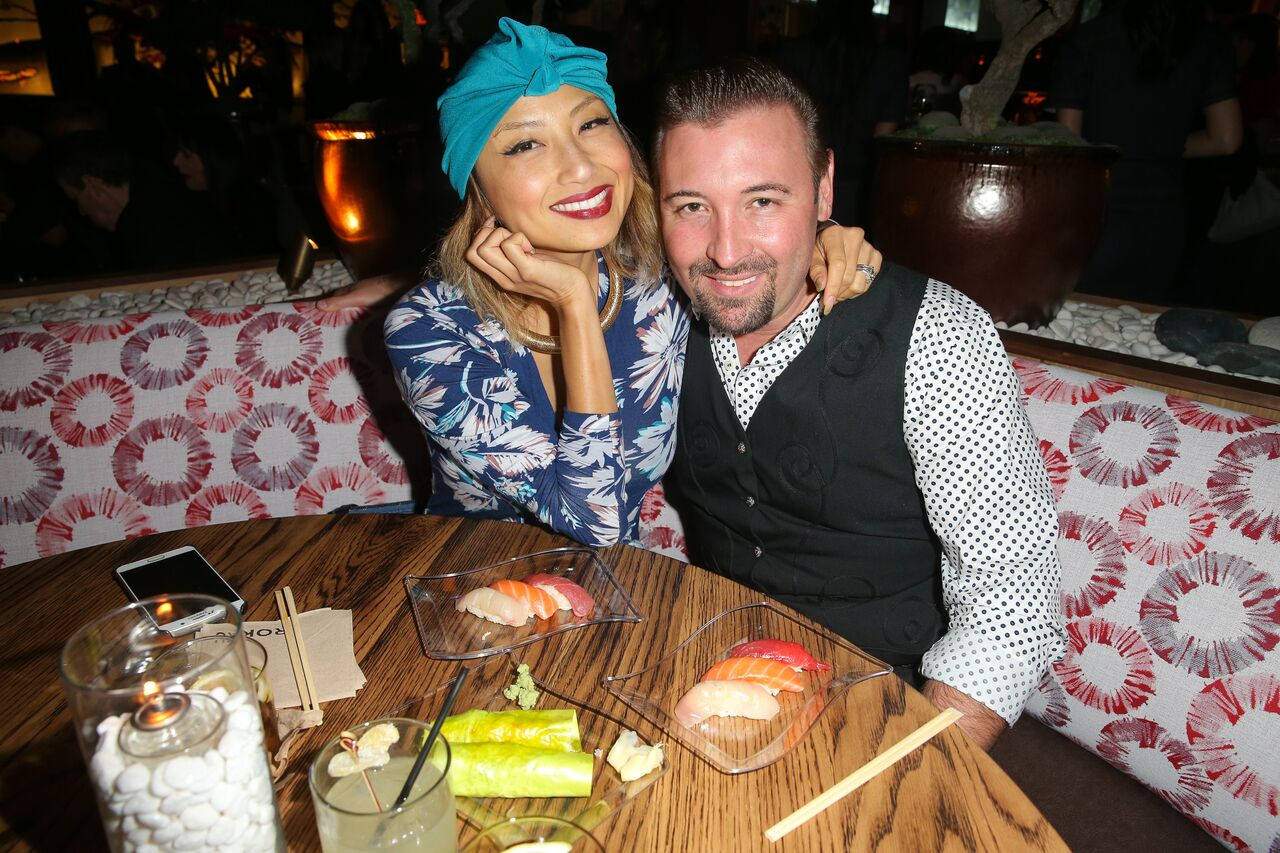 Jeannie Mai and Freddy Harteis attend the Roku grand opening.   Source: Getty Images