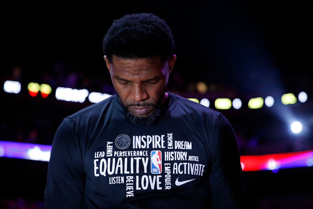 Udonis Haslem #40 of the Miami Heat looks on prior to the game against the Brooklyn Nets at American Airlines Arena on February 29, 2020   Photo: Getty Images