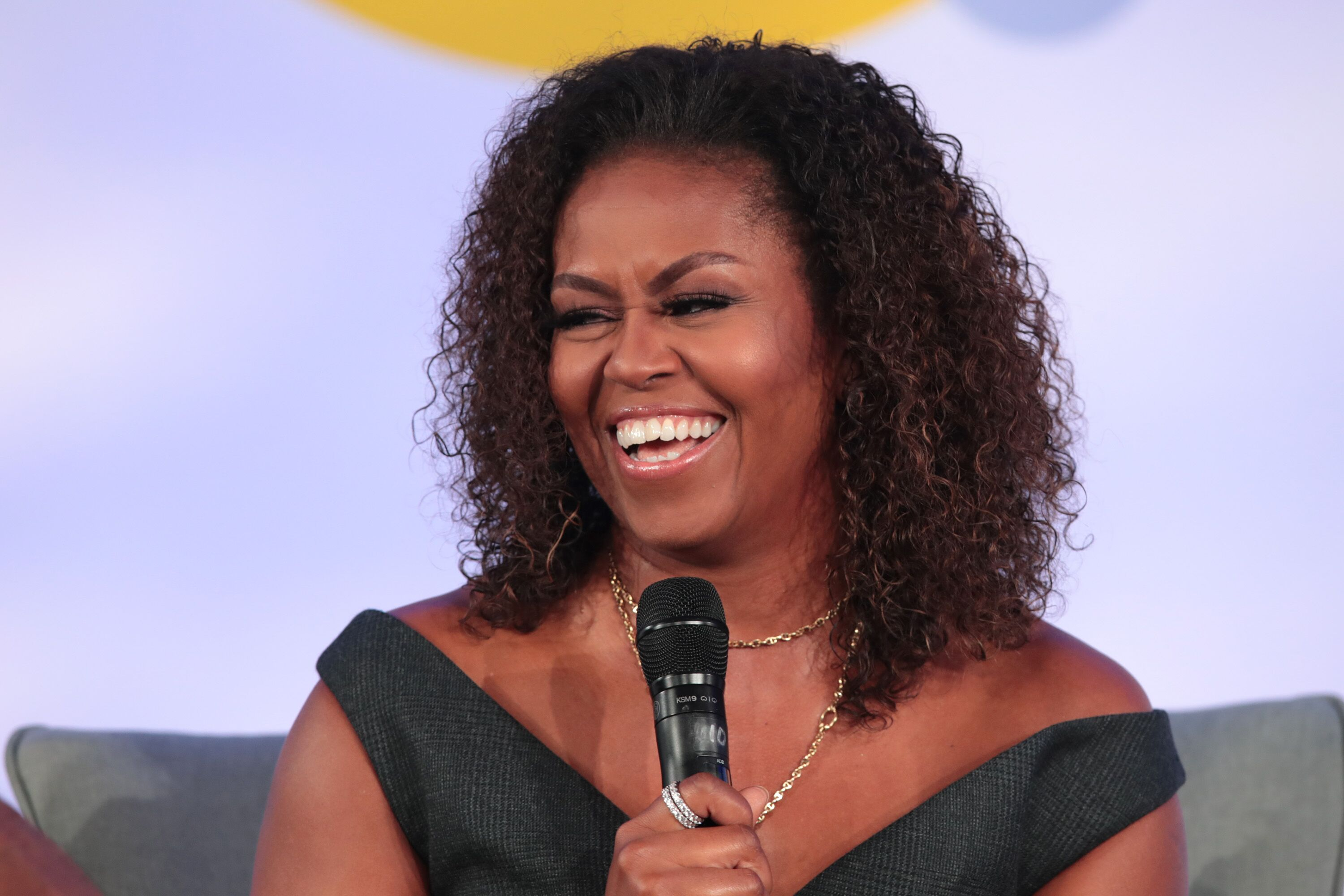 Michelle Obama speaks to guests at the Obama Foundation Summit.   Source: Getty Images