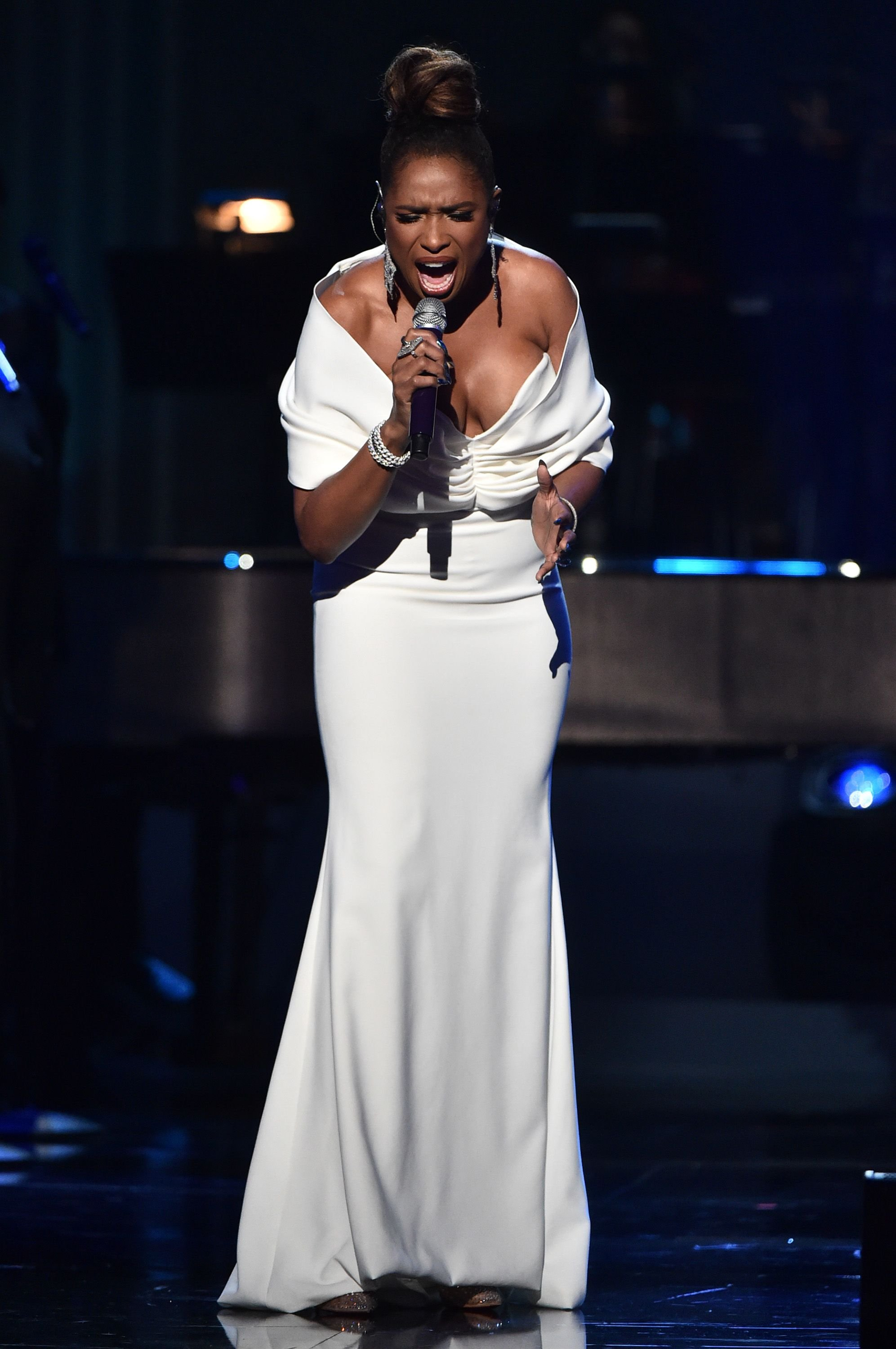 """Jennifer Hudson singing at """"Aretha! A GrammyCelebration For The Queen Of Soul"""" at The Shrine Auditorium on January 13, 2019 in Los Angeles, California.   Source: Getty Images"""