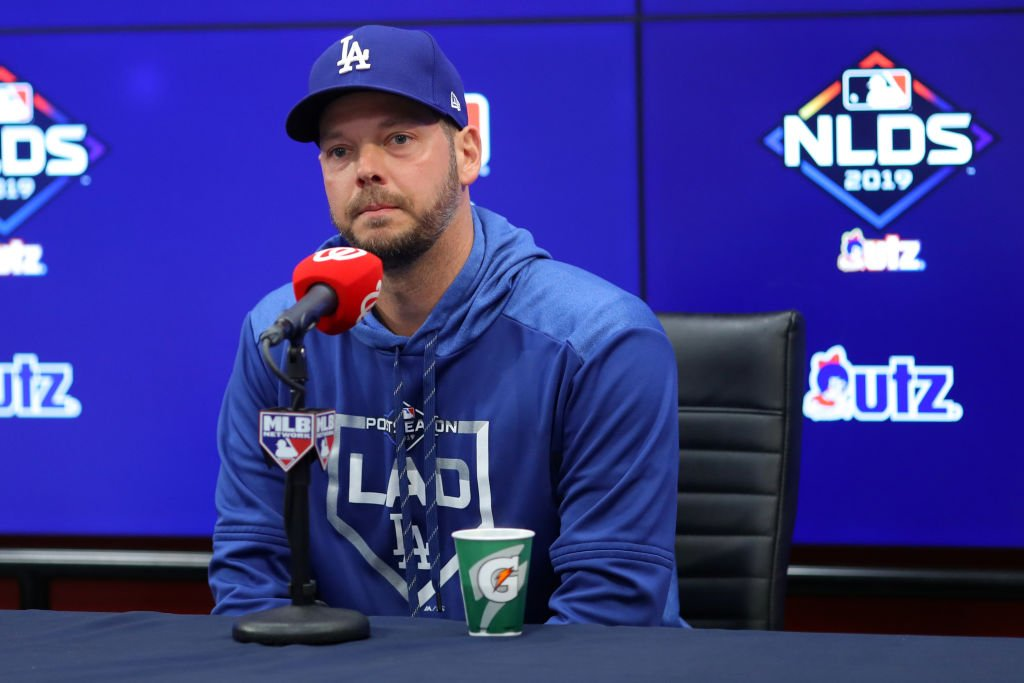 Rich Hill speaks to the media before a game at Nationals Park on Sunday, October 6, 2019 | Photo: Getty Images
