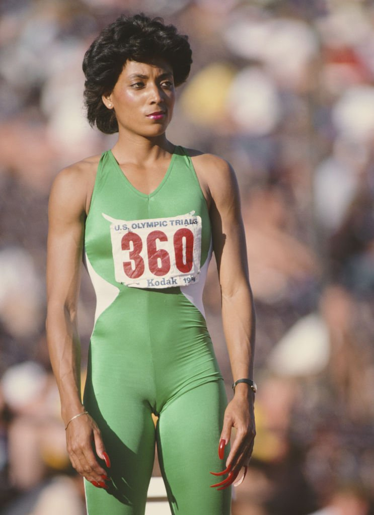 Florence Griffith-Joyner during the Women's 200-meter event at the United States Olympic Trials on June 20, 1984.    Photo: Getty Images