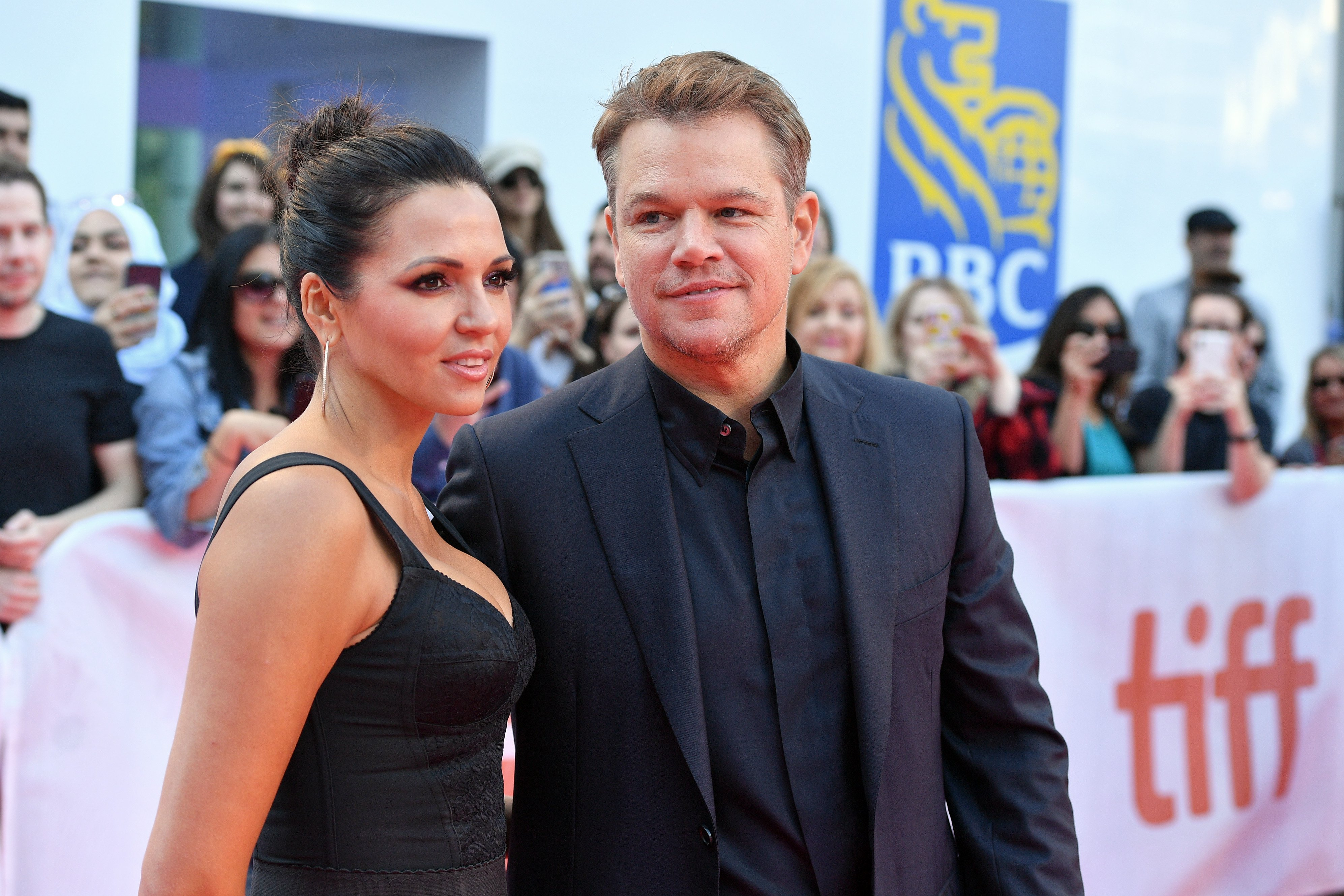"""Luciana Barroso and Matt Damon attend the """"Ford v Ferrari"""" premiere during the 2019 Toronto International Film Festival at Roy Thomson Hall on September 09, 2019  