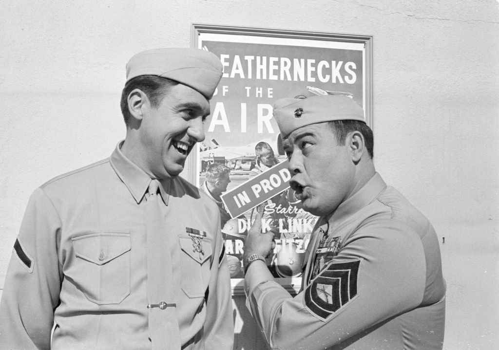"""Frank Sutton as Sgt. Vince Carter, and Jim Nabors as Pvt. Gomer Pyle on the CBS television series """"Gomer Pyle, USMC,"""" on July 16, 1968. 