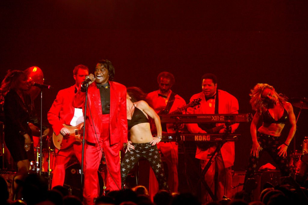 James Brown performs on stage at the 50 Years of Rock Concert at Roseland on September 17, 2004   Photo: Getty Images