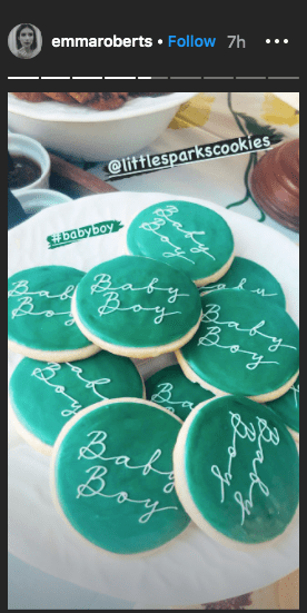 Emma Roberts shares a photo of cookies gifted to her during her baby shower, on her Instagram story | Instagram/@emmaroberts