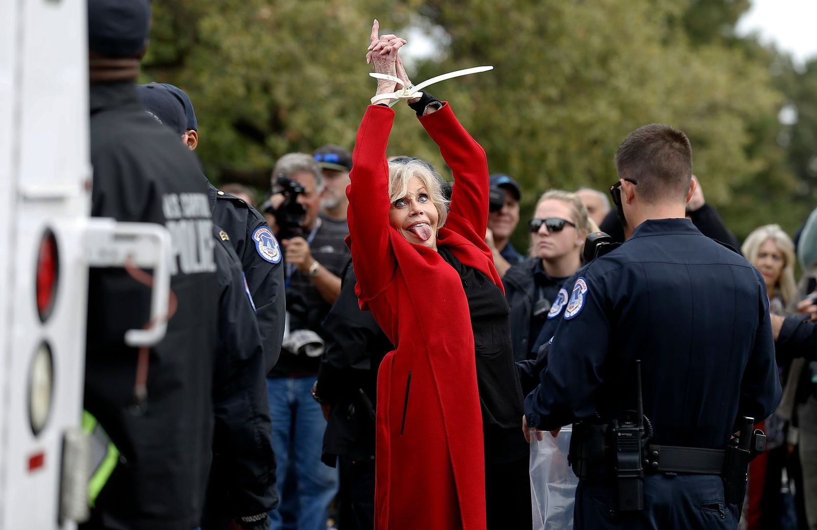 """Jane Fonda getting arrested for the """"Fire Drill Friday"""" protests.   Photo: Getty Images"""