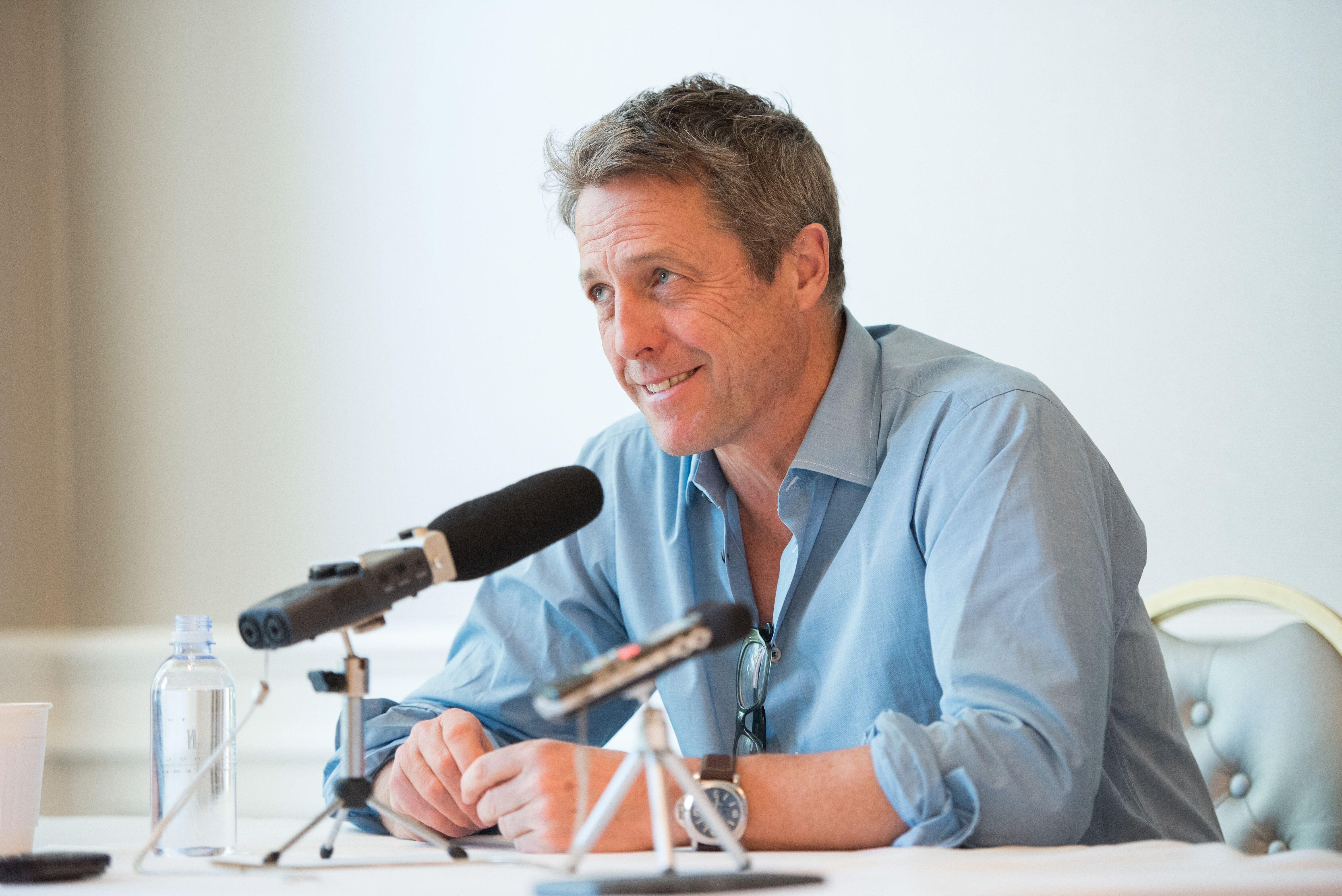 "Hugh Grant speaks at a Press Conference For ""A Very English Scandal."" 