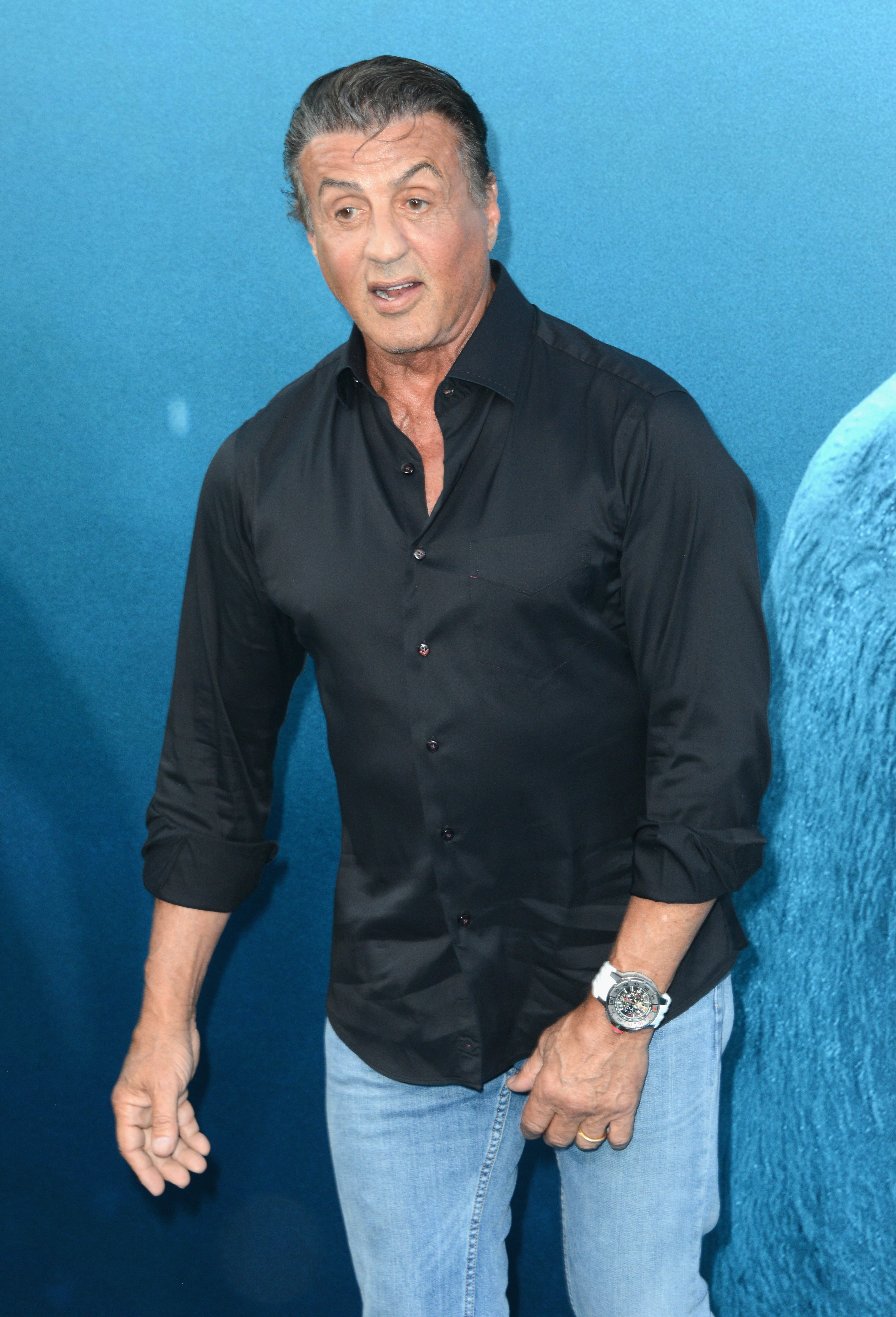 "Sylvester Stallone attends the premiere of ""The Meg"" in Hollywood, California on August 6, 2018 
