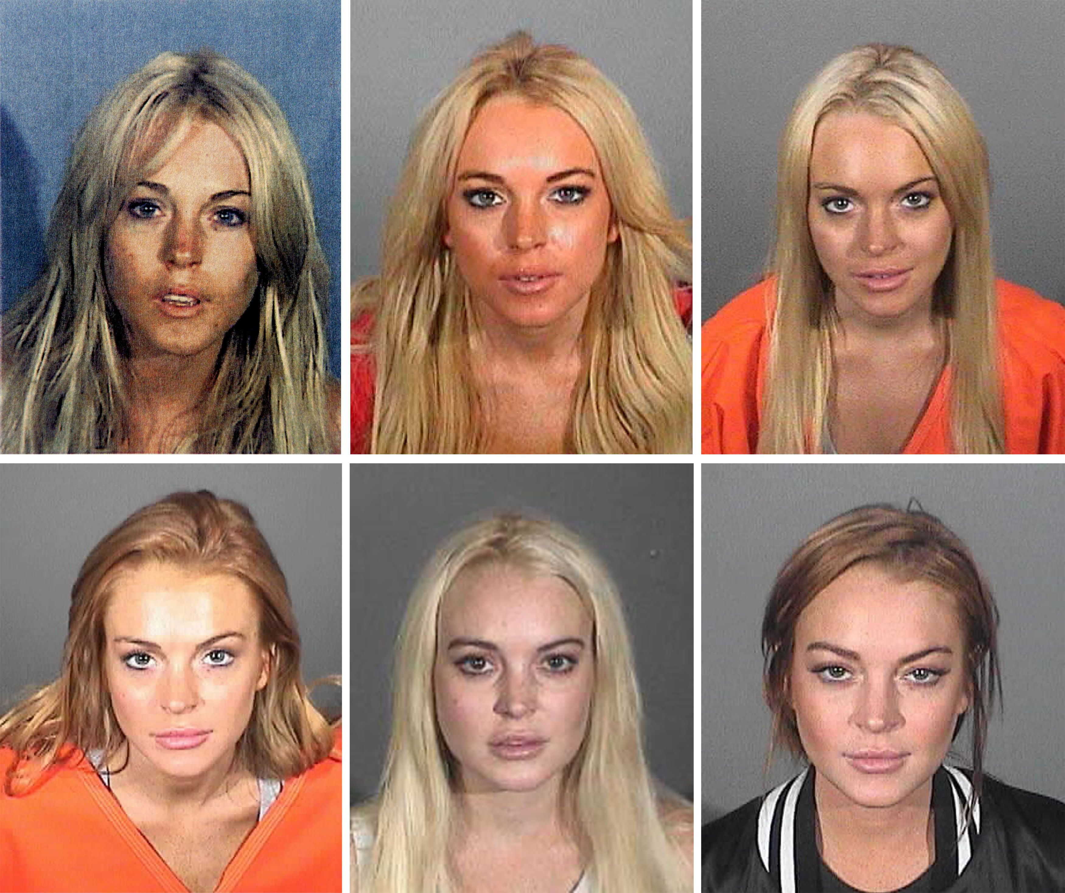 Six booking photos of actress Lindsay Lohan in different police departments. | Source: Getty Images