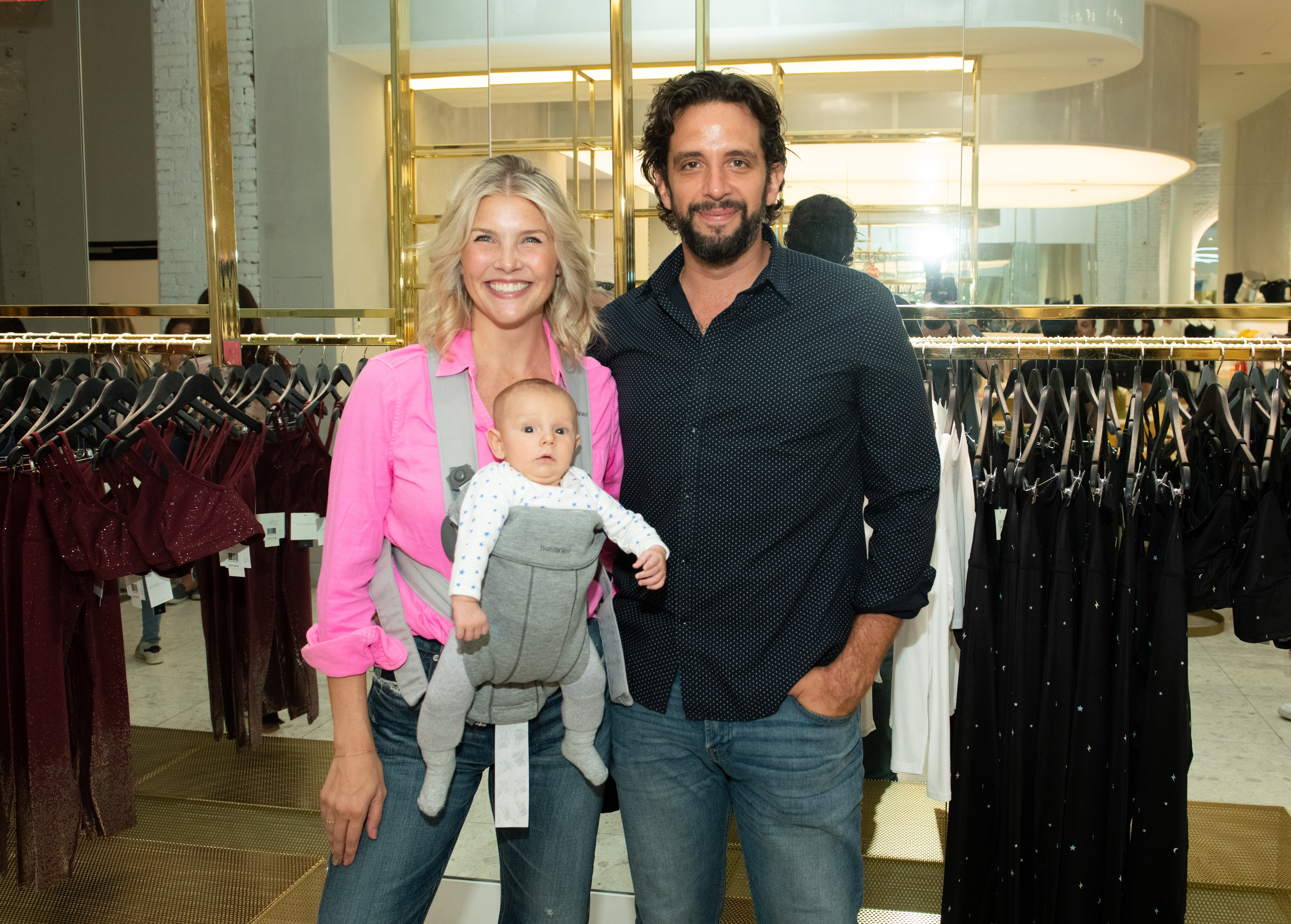 Amanda Kloots with husband Nick Cordero and son Elvis attend the Beyond Yoga x Amanda Kloots Collaboration Launch Event in New York City on August 27, 2019 | Photo: Getty Images