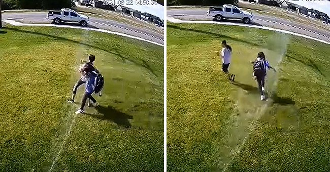 Trespassers walking on someone's lawn being splashed water from an automatic sprinkler. | Photo:  tiktok.com/@tgunz81
