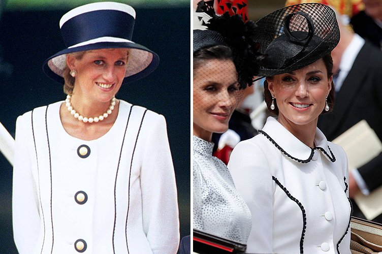 Princess Diana in August 1995 and Duchess Kate Middleton in June 2019 | Photo: Getty Images