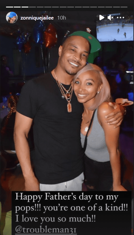 Zonnique Pullins smiling with her stepfather T.I.   Photo: instagram.com/zonniquejailee