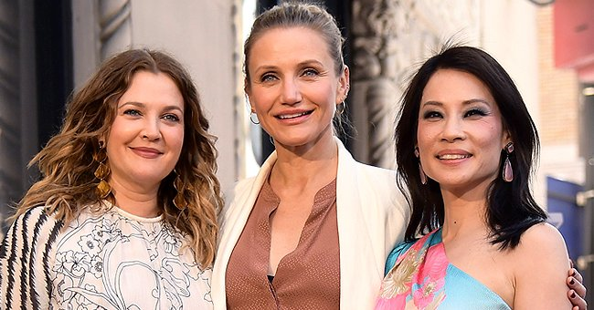 Drew Barrymore, Cameron Diaz, and Lucy Liu pictured at Liu's star ceremony for the Hollywood Walk of Fame, 2019, Hollywood, California.   Photo: Getty Images
