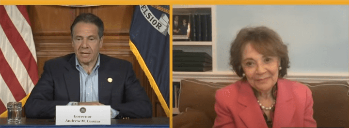 New York Governor Andrew Cuomo had his mother Matilda join in via video link on Sunday for Mother's Day. | Source: YouTube/CBS News.