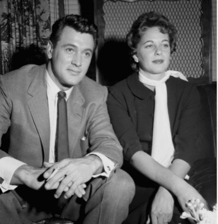 Actor Rock Hudson and his wife Phyllis Gates pose at home in Los Angeles, California. Circa 1955:  | Source: Getty Images