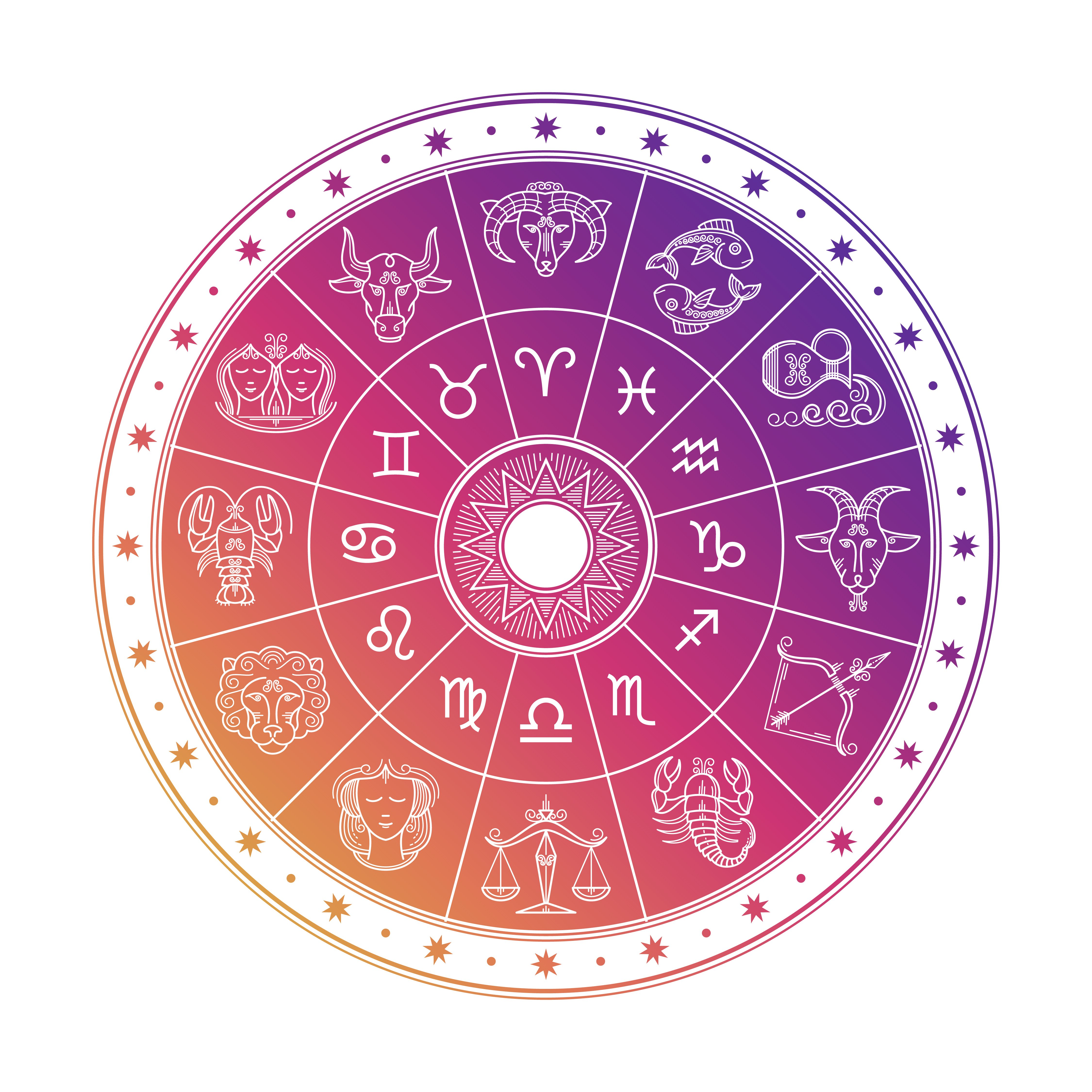 Colorful astrology circle design with horoscope signs isolated on white background   Photo: Shutterstock