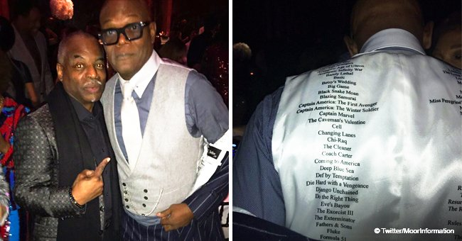 Samuel L. Jackson wears custom vest that lists 125+ movies he's been in for his 70th birthday party