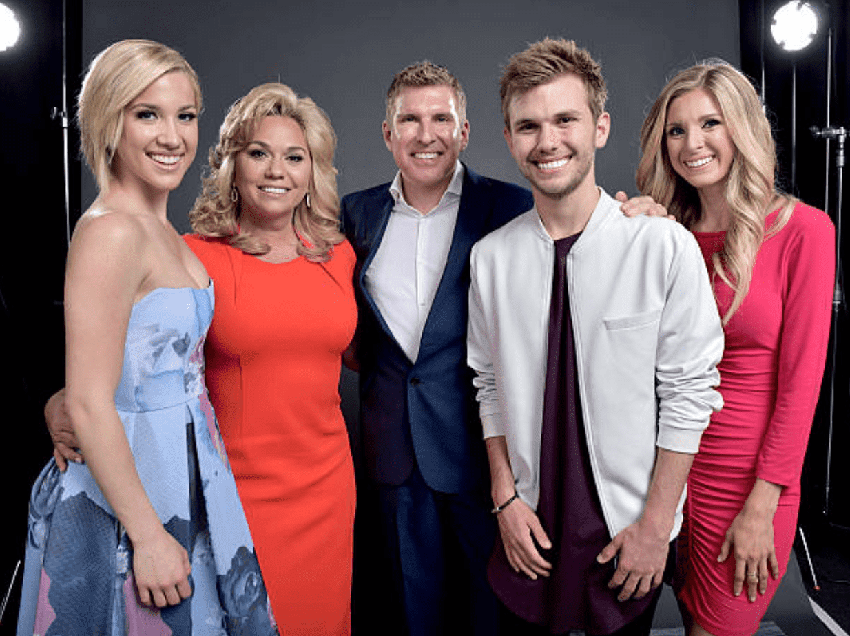 """Savannah Chrisley, Julie Chrisley, Todd Chrisley, Chase Chrisley, and Lindsie Chrisley pose for a family portrait during the NBCUniversal Summer Press Day for their show """"Chrisley Knows Best,"""" on April 1, 2016, in Westlake Village, California   Source: Mike Windle/NBCUniversal via Getty Images"""